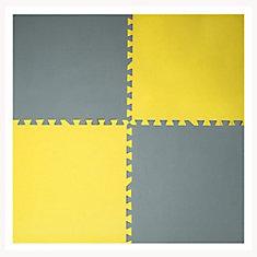 Grey and Yellow 24-inch X 24-inch Anti-Fatigue Interlocking Mats (4 Pack)