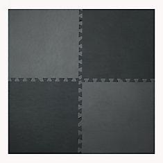 Grey and Black 24-inch X 24-inch Anti-Fatigue Interlocking Mats (4 Pack)