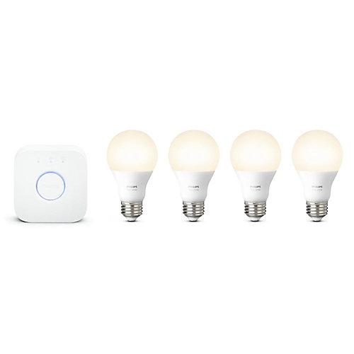 Hue White A19 LED Light Bulb (4-Pack) with Hue Bridge