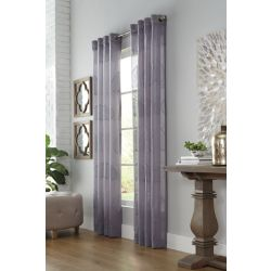 Home Decorators Collection Palmy, Silver, Sheer, Faux Linen, Grommet Panel 52in x 108in