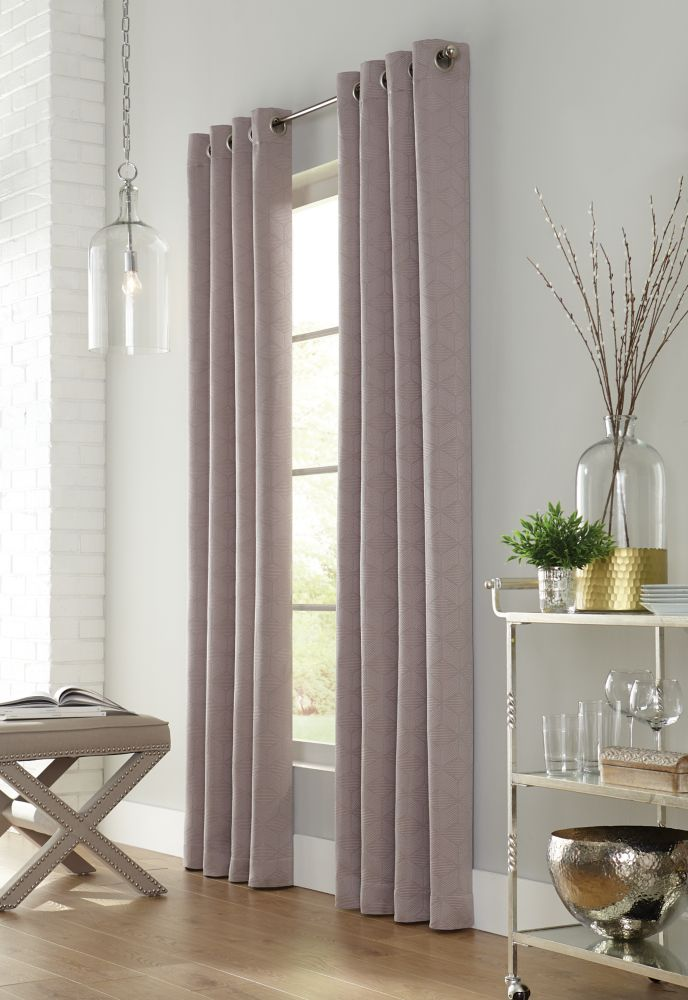 Home Decorators Collection Sunderland, Taupe, Light Filtering, Geo Jacquard, Grommet Panel 52in x 108in