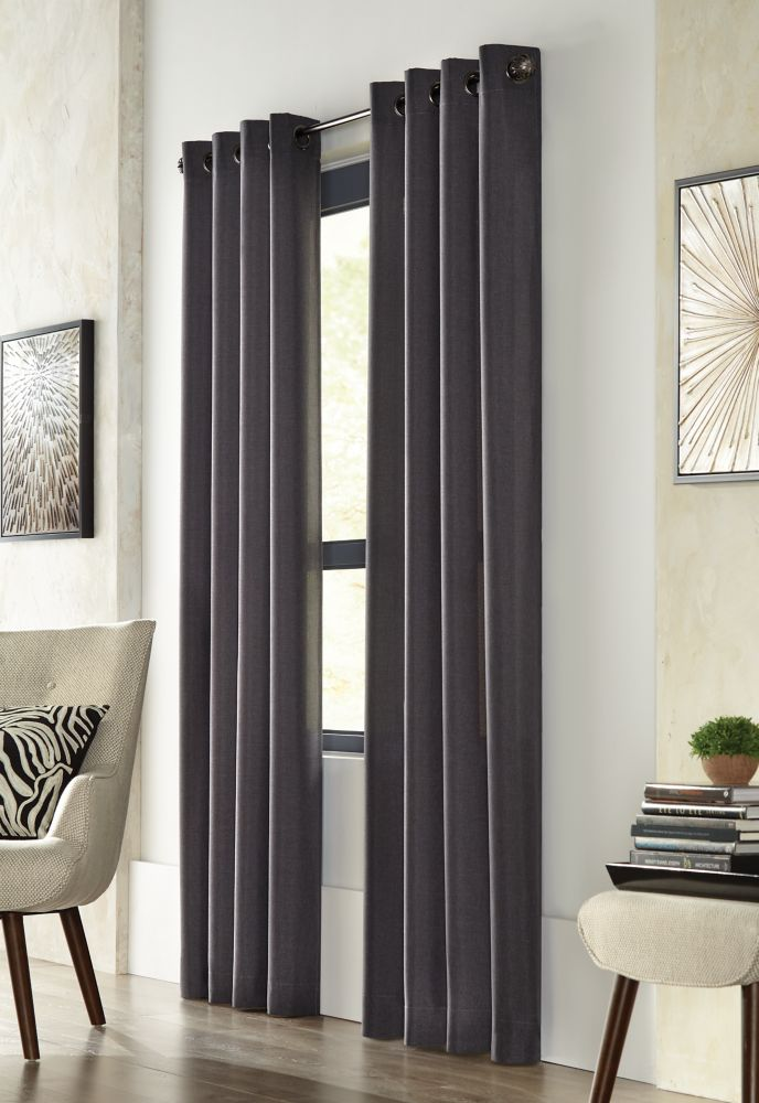 Home Decorators Collection City Menswear, Black, Light Filtering, Solid Menswear Look, Grommet Panel 52 x 108
