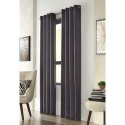 Home Decorators Collection City Menswear, Black, Light Filtering, Solid Menswear Look, Grommet Panel 52 x 108