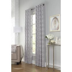 Home Decorators Collection Lucia, Charcoal, Light Filtering, Tonal Jacquard, Grommet Panel 52in x 95in