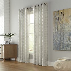 Home Decorators Collection Quatrogeo Light Filtering Grommet Curtain 52 inches width X 95 inches length, Linen