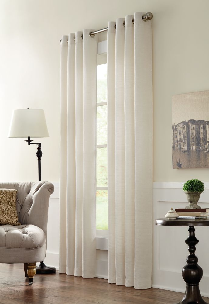 Home Decorators Collection Geneva, Natural, Light Filtering,  Ribbed Chenille, Grommet Panel 52in x 95in