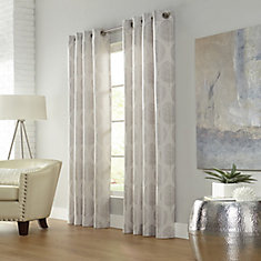 Leafy, Linen, Light Filtering, Faux Linen Jacquard, Grommet Panel 52in x 95in