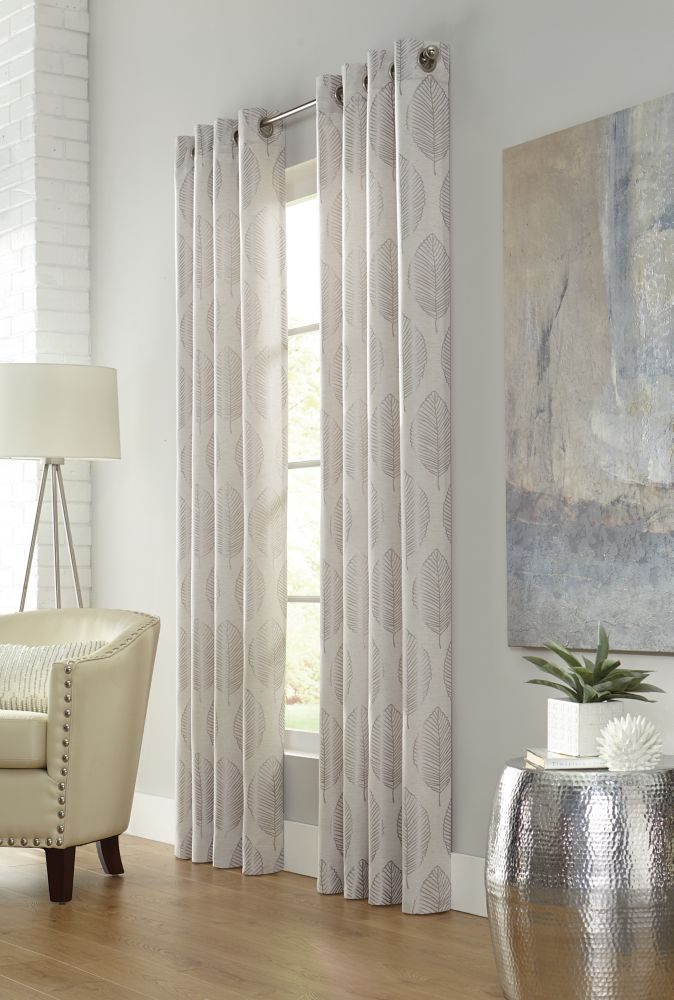 Home Decorators Collection Leafy, Linen, Light Filtering, Faux Linen Jacquard, Grommet Panel 52in x 108in
