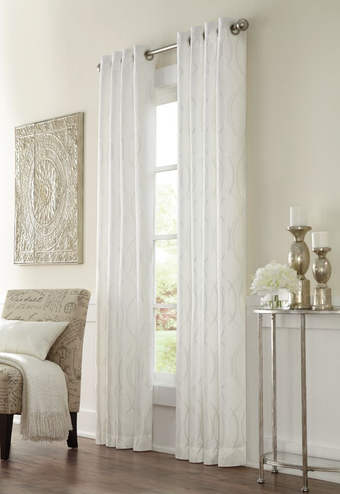 Home Decorators Collection Providence, White, Room Darkening, Geo Jacquard, Grommet Panel 52in x 95in