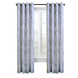 Thermalogic Caldwell lined faux linen, grommet panel, blue 54in x 84in