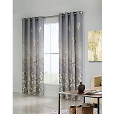 Chamberlain lined faux linen, grommet  panel, grey 54in x 84in