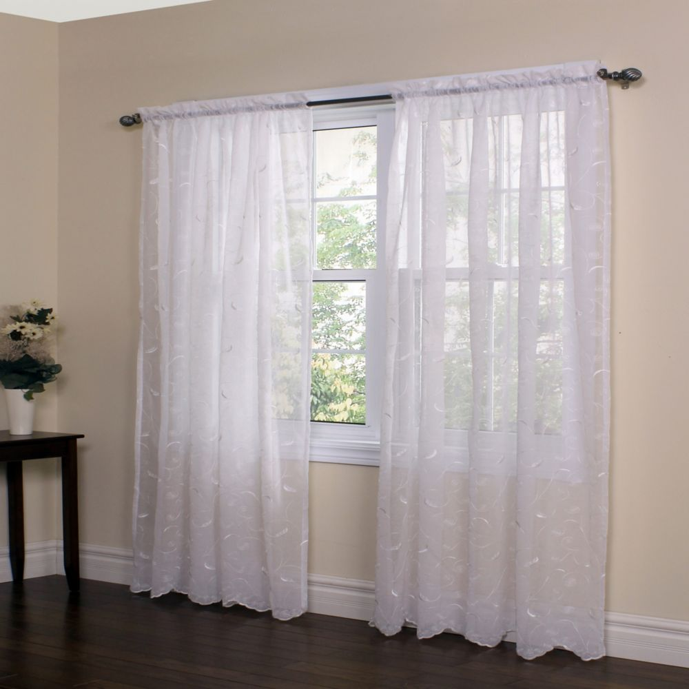 Habitat Hathaway scroll embroidered motif, sheer rod pocket panel, scalloped hem, white 54in x 63in