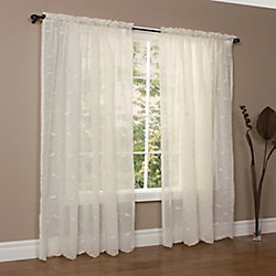 Habitat Hathaway scroll embroidered motif, sheer rod pocket panel, cream 54in x 96in