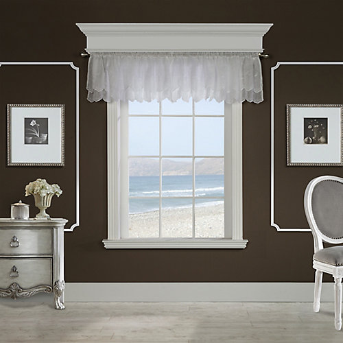 Hathaway scroll embroidered motif, sheer rod pocket valance, white 54in x 17in