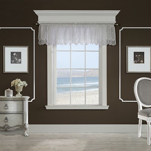 Habitat Hathaway scroll embroidered motif, sheer rod pocket valance, white 54in x 17in