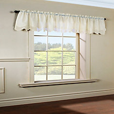 Hathaway scroll embroidered motif, sheer rod pocket valance, cream 54in x 17in