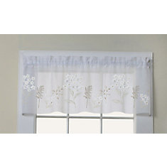 Hydrangea faux linen sheer valance with floral appliqués, rod pocket, white 54in x 16in