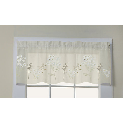 Hydrangea faux linen sheer valance with floral appliqués, rod pocket, cream 54in x 16in