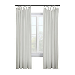 Habitat Kazan light filtering washed cotton panel decorative rope top header, white 50in x 84in