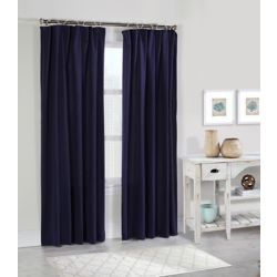 Habitat Kazan light filtering washed cotton panel decorative rope top header, navy 50in x 84in