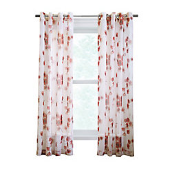 Couture Meghan sheer faux linen poppy flower print, grommet panel, red 52in x 84in