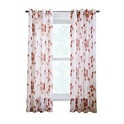 Couture Meghan sheer faux linen poppy flower print, grommet panel, red 52in x 95in
