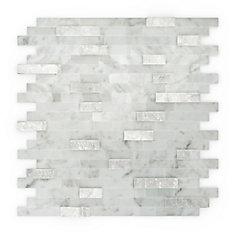 Camarillo 11.75 in. X11.6 in. X 5mm Stone Self Adhesive Wall Tile in White and Grey