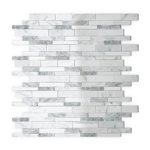 Gray Agate 11.65-inch x 11.34-inch Marble Self-Adhesive Wall Mosaic Tile