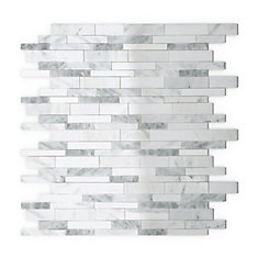 Gray Agate 11.34 in. X 11.61 in. X 5mm Stone Self Adhesive Wall Tile in White and Grey