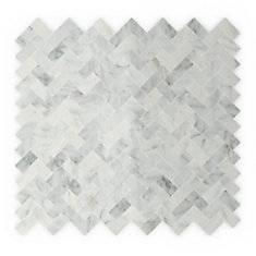Ocean 12 in. X 11.69 in. X 5mm Stone Self Adhesive Wall Tile in White and Grey