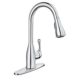 MOEN Kaden Single-Handle Pull-Down Sprayer Kitchen Faucet with Reflex and Power Clean in Chrome