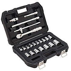 1/2-inch Drive Metric Socket Set with Ratchet (22-Piece)