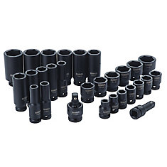 28 Piece 1/2 in Drive Standard & Deep Impact Socket Set 6 PT