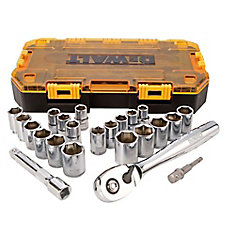1/2-inch Drive Combination Socket Set with Case (23-Piece)