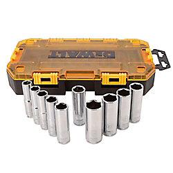 DEWALT Ensemble de 10 douilles métriques profondes à prise de 12.7mm (1/2 po)