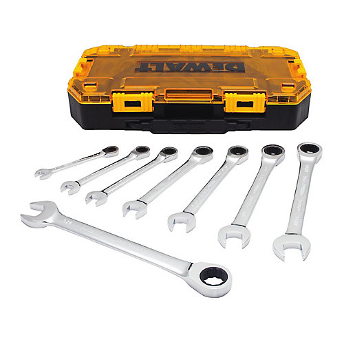 Full Polish Ratcheting Combination Wrench Set (8 Piece)