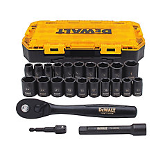1/2-inch Drive Combination Impact Socket Set (23 Piece)