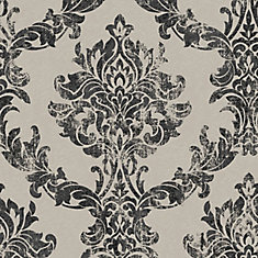 Opal Damask Charcoal and Gold Surface Wallpaper Sample