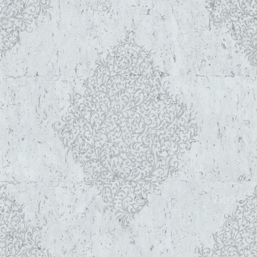 Graham & Brown Cork Medallion Blue and Silver Kyoto Wallpaper Sample