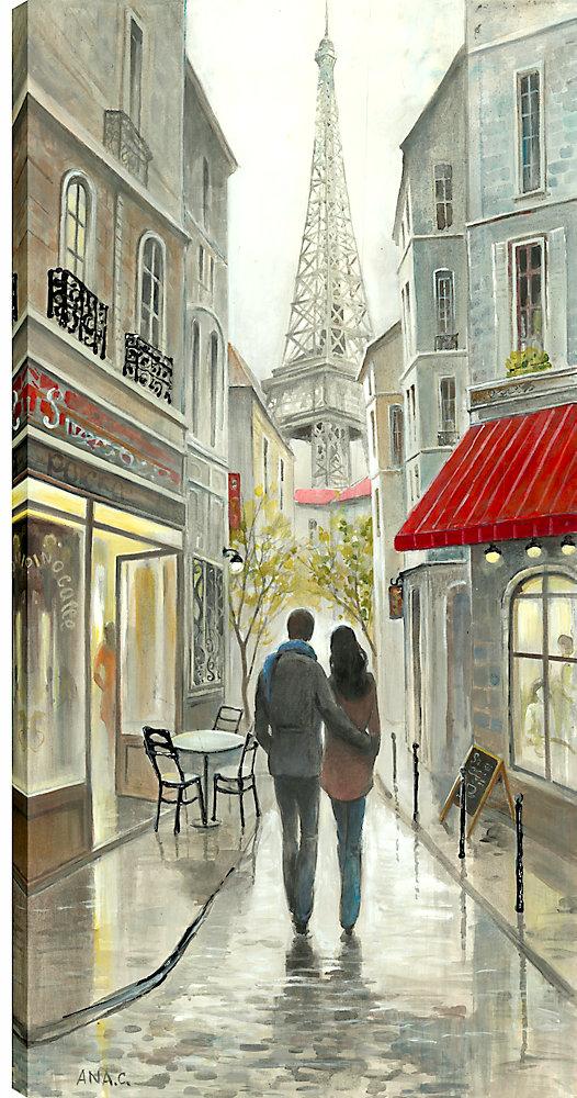 24 x 48 romantique promenade en soirée, enveloppé de toile imprimée gallary art pariétal