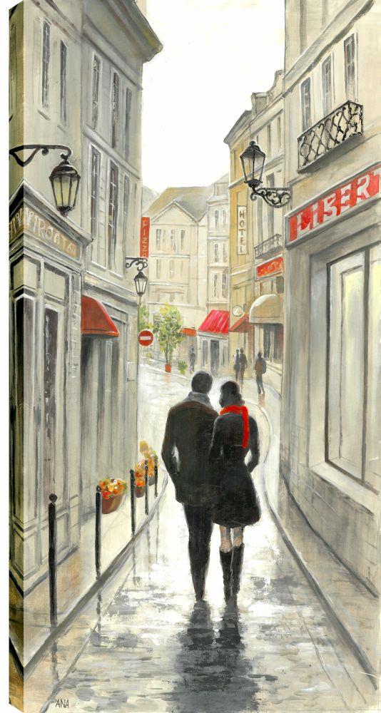 Art Maison Canada 24X48 Romantic Walk In The Rain, Printed canvas gallary wrapped wall art