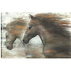 24 x 36 chevaux en cours d'exécution dans le vent, enveloppé de toile imprimée gallary art pariétal