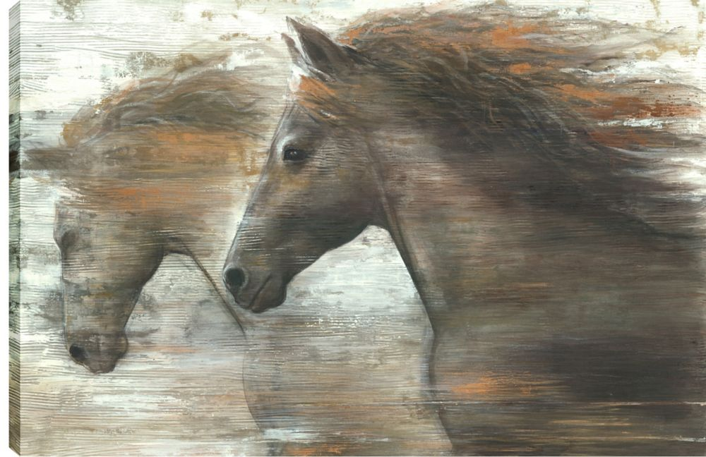 Art Maison Canada 24X36 Horses Running in the Wind, Printed canvas gallery wrapped wall art