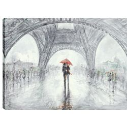 Art Maison Canada 30X40 Lovers Under the Eiffel Tower, Printed gallery wrapped wall art