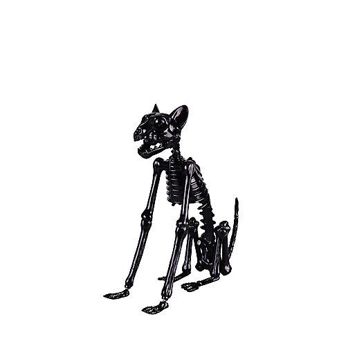 15-inch LED-Lit Skeleton Black Cat Halloween Decoration