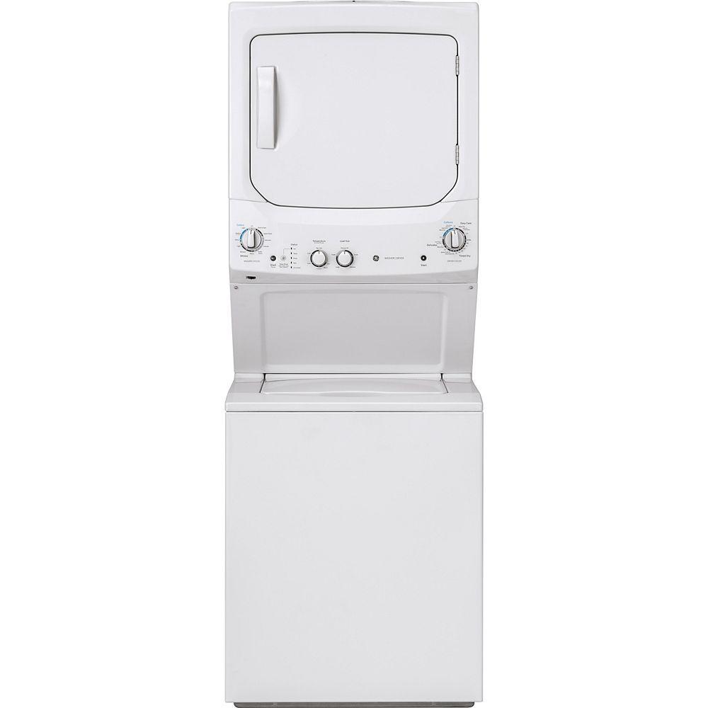GE Laveuse et sécheuse empilées de 27 pouces Centre de lavage et de sécheuse en blanc