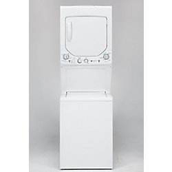 "GE Stacked Unitized 24"" 2.6 Cu. Ft. Washer and 4.4 Cu. Ft. Dryer Laundry Center in White"
