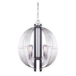 Canarm MARLIN 4-light matte black & brushed nickel sphere chandelier