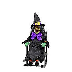 Figurine de sorcière d'Halloween sur chaise à bascule animée à DEL, modèles variés