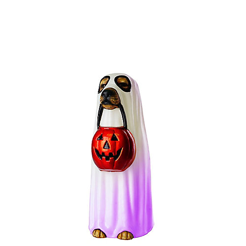 24-inch LED-Lit Ghost Dog Halloween Decoration
